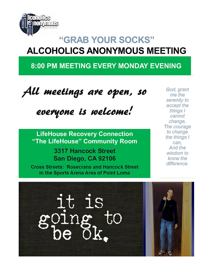 Alcoholics Anonymous Meeting Every Monday Evening 8:00 PM